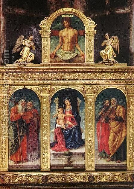 Virgin Enthroned with the Child on her Knee (polyptych) by Bartolomeo Vivarini - Reproduction Oil Painting