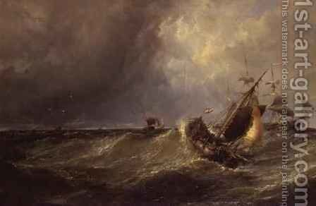 A Dutch Fishing Boat Entering Calais Harbour by Edwin Hayes - Reproduction Oil Painting