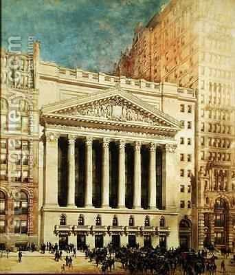 New York Stock Exchange by Hughson Hawley - Reproduction Oil Painting