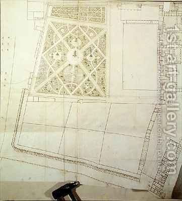 Site plan and survey of The Wilderness Hampton Court by Nicholas Hawksmoor - Reproduction Oil Painting