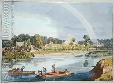 Staines Church with City Stone on Banks of the River by William Havell - Reproduction Oil Painting