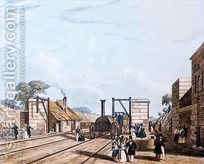 Liverpool and Manchester Railway Taking water at Parkside by Daniel and Robert Havell - Reproduction Oil Painting