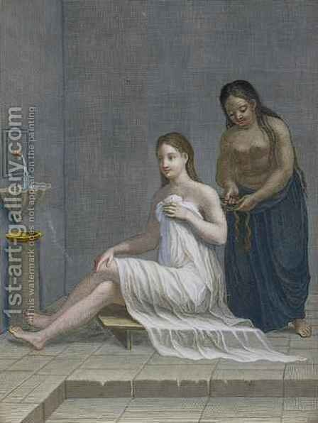 Turkish Girl having her hair braided in the baths by Jean-Baptiste Haussard - Reproduction Oil Painting