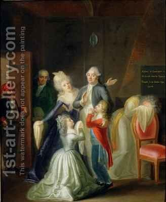 Farewell to Louis XVI by his Family in the Temple by Jean-Jacques Hauer - Reproduction Oil Painting