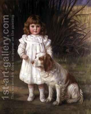 Portrait of a girl in a white dress with a dog by Helen Howard Hatton - Reproduction Oil Painting