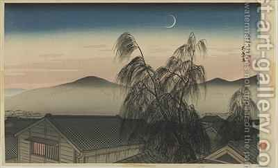 Evening Moon in Kobe Kobe no yoizuki Taisho era by Goyo Hashiguchi - Reproduction Oil Painting