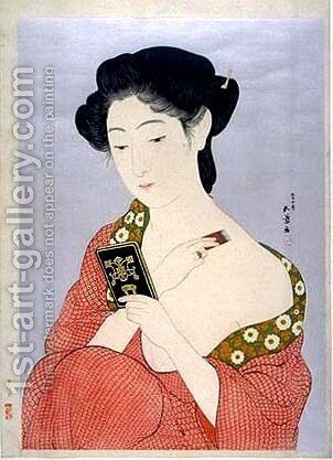 A Woman in Nagajuban Powdering her Neck by Goyo Hashiguchi - Reproduction Oil Painting