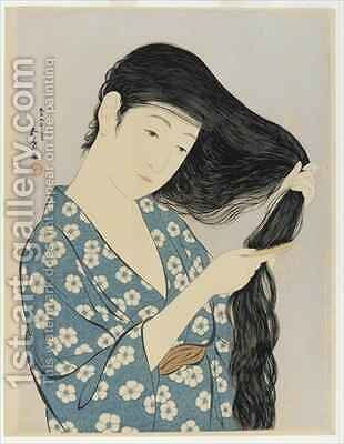 Woman combing her hair by Goyo Hashiguchi - Reproduction Oil Painting