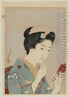 Woman Applying Lip Rouge Taisho era by Goyo Hashiguchi - Reproduction Oil Painting