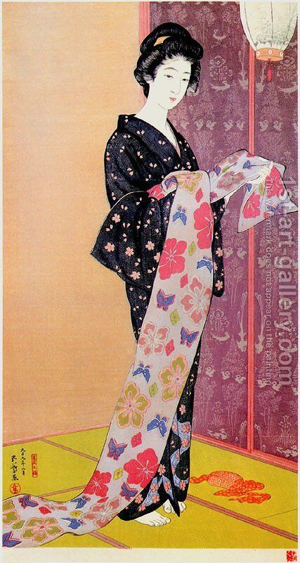 Woman in a Summer Kimono by Goyo Hashiguchi - Reproduction Oil Painting