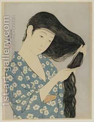 Woman Combing Her Hair Taisho era by Goyo Hashiguchi - Reproduction Oil Painting