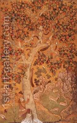 Johnson Album I No 30 Squirrels on a plane tree Mughal by Abu'l Hasan - Reproduction Oil Painting