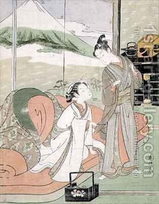 Lover Taking Leave of a Courtesan by Suzuki Harunobu - Reproduction Oil Painting