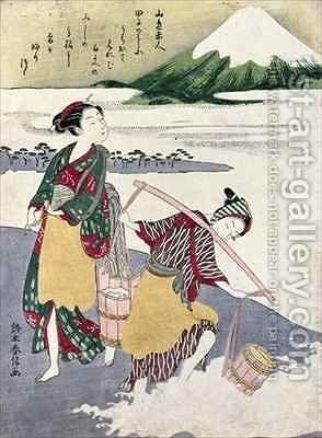 Salt Maidens on the Tago no ura Beach with Mt Fuji Behind by Suzuki Harunobu - Reproduction Oil Painting