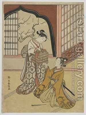 Lovers with a Bird Cage by Suzuki Harunobu - Reproduction Oil Painting