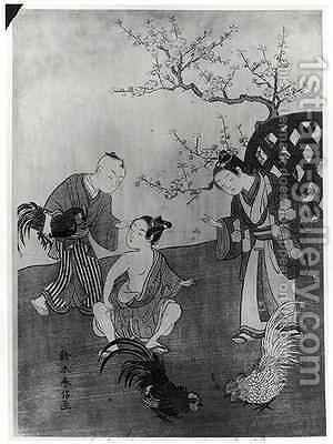 The Cockfight by Suzuki Harunobu - Reproduction Oil Painting