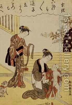 A mother dressing her young son in a kimono by Suzuki Harunobu - Reproduction Oil Painting