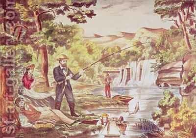 Fishing Scene by Chas Hart - Reproduction Oil Painting