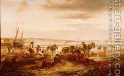 Fisherfolk on the Beach before Penzance St Michaels Mount in the Distance by C.H. Hart - Reproduction Oil Painting