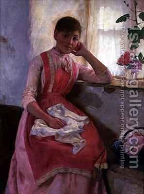 Portrait of a girl in a pink apron by Edwin Harris - Reproduction Oil Painting