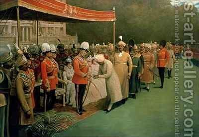 Edward VII receiving Maharajahs and Dignitaries Prior to his Coronation by Albert E. Harris - Reproduction Oil Painting