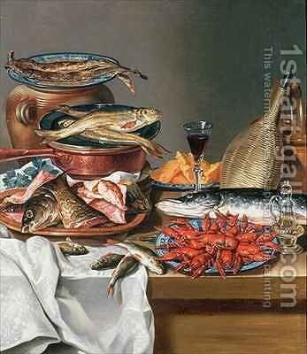 A Still Life of a Fish Trout and Baby Lobsters by Anton Friedrich Harms - Reproduction Oil Painting