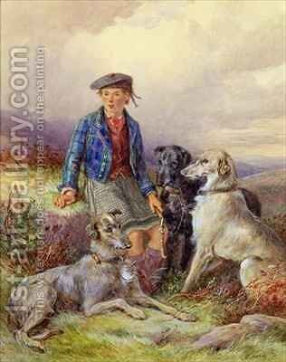 Scottish boy with wolfhounds in a Highland landscape by James Hardy Jnr - Reproduction Oil Painting