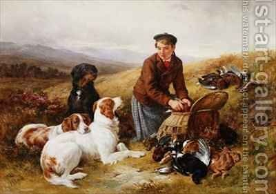 A Young Gillie With Setters and Dead Game by James Hardy Jnr - Reproduction Oil Painting