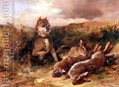 A West Country Terrier with Game by Heywood Hardy - Reproduction Oil Painting