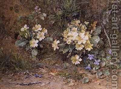 Primroses and Violets on a mossy bank by John Jessop Hardwick - Reproduction Oil Painting