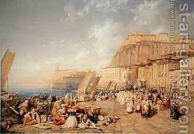 Procession on the Feast of Corpus Christi Naples by James Duffield Harding - Reproduction Oil Painting