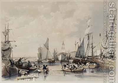 The Port of London by James Duffield Harding - Reproduction Oil Painting