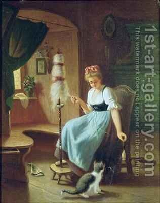 Girl at a Spinning Wheel by H Harcourt - Reproduction Oil Painting