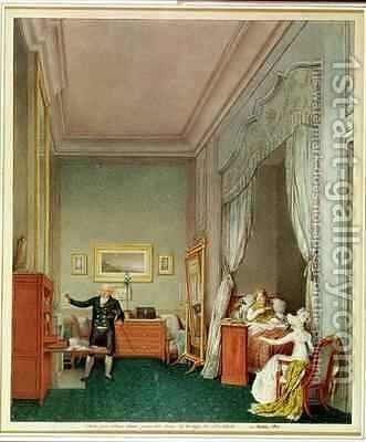 The Empresss Bedroom with the Duchesse de Montebello and Jean Nicolas Corvisart 1755-1821 by Marie-Louise de Hapsburg-Lorraine - Reproduction Oil Painting