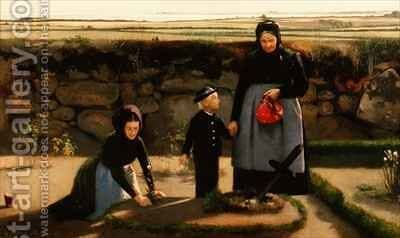 Visit to the Churchyard by Hans Christian Hansen - Reproduction Oil Painting