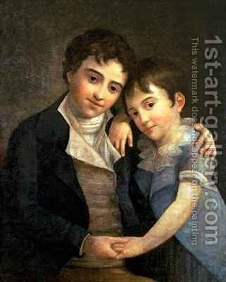 Portrait of Karl Thomas 1784-1858 and Franz Xaver 1791-1844 the two sons of Wolfgang Amadeus Mozart 1756-91 by Hans Hansen - Reproduction Oil Painting