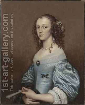 Portrait of a lady in a blue dress holding a fan by Adriaen Hanneman - Reproduction Oil Painting