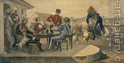 A Coffee Party at a military station in India by Michael Hanhart - Reproduction Oil Painting