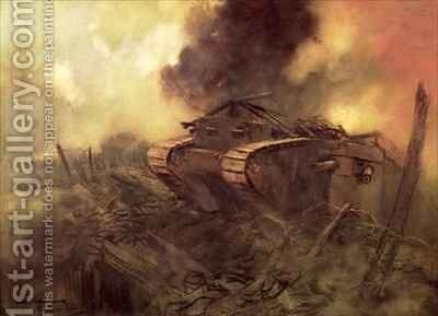 Tanks Somme by Captain Edward Henry Handley-Read - Reproduction Oil Painting