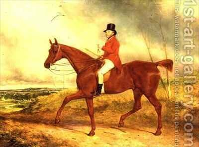 The Hounds are late this morning  Luke Hopkinson on his favourite chestnut hunter with a hunt beyond probably the Barclay Hunt by Charles Hancock - Reproduction Oil Painting