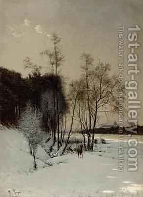 A Winter View in Posen by Hans Hampke - Reproduction Oil Painting