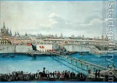 Laying of the Moskvoretsky Bridge in Moscow by Charles de Hampeln - Reproduction Oil Painting