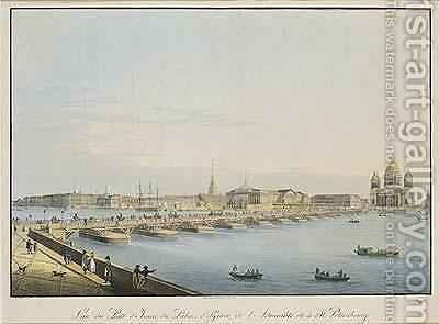 View of St Isaacs Bridge the Admiralty and the Winter Palace St Petersburg by Christian Gottlob Hammer - Reproduction Oil Painting