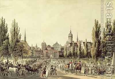 View of Leipzig from the Grimma Gate by Christian Gottlob Hammer - Reproduction Oil Painting