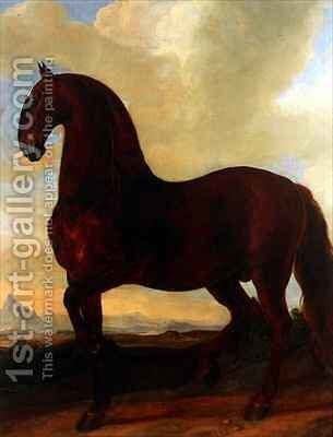 The Bay Stallion at the Eisgruber Stud by Johann Georg Hamilton - Reproduction Oil Painting