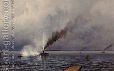 Action Between the Monitor and Merrimac by James Hamilton - Reproduction Oil Painting