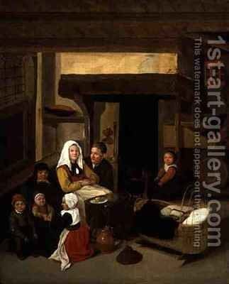 A Family Interior in a Barn by Jan or Johannes Hals - Reproduction Oil Painting