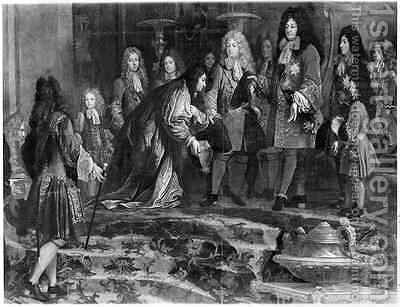 The Doge of Genoa offering his apologies to Louis XIV 1638-1715 by Claude-Guy Halle - Reproduction Oil Painting