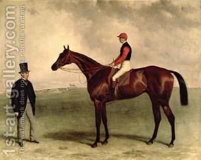 Gladiateur with Harry Grimshaw up and his owner Count Frederic de Lagrange by Harry Hall - Reproduction Oil Painting