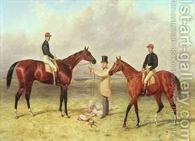 L to R Lord Lyon Winner of the Derby by Harry Hall - Reproduction Oil Painting